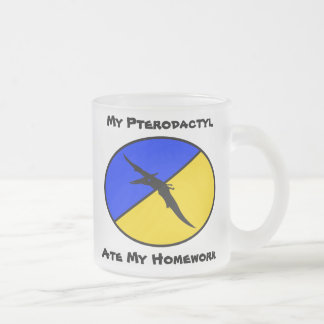 My Pterodactyl ate my homework 10 Oz Frosted Glass Coffee Mug