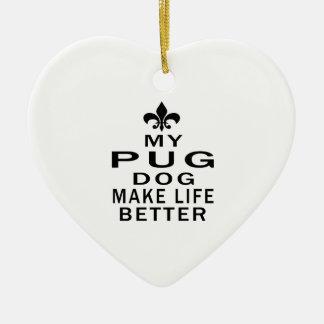 My Pug Dog Make Life Better Double-Sided Heart Ceramic Christmas Ornament