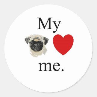 My pug loves me classic round sticker
