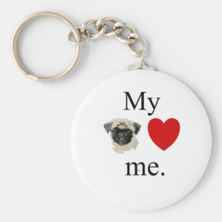 My pug loves me keychain