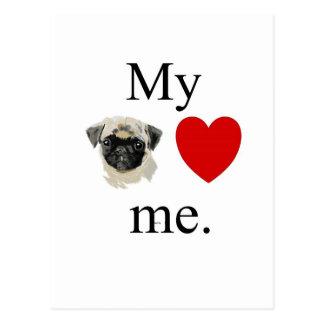My pug loves me postcard