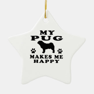 My Pug Makes Me Happy Double-Sided Star Ceramic Christmas Ornament