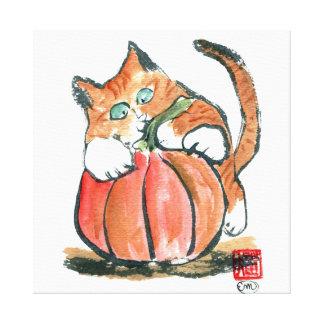 My Pumpkin Meows Tiger Kitten, sumi-e Canvas Print