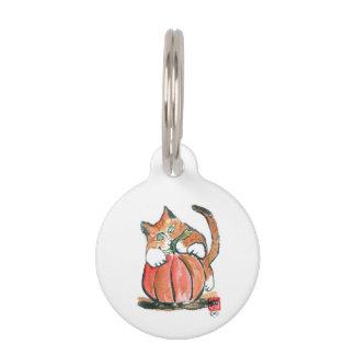 My Pumpkin Meows Tiger Kitten, sumi-e Pet ID Tags