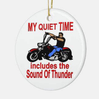 My Quiet Time Includes The Sound Of Thunder Biker Double-Sided Ceramic Round Christmas Ornament