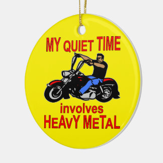 My Quiet Time Involves Heavy Metal Biker Double-Sided Ceramic Round Christmas Ornament