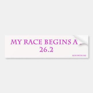 My Race Begins Bumper Sticker Car Bumper Sticker