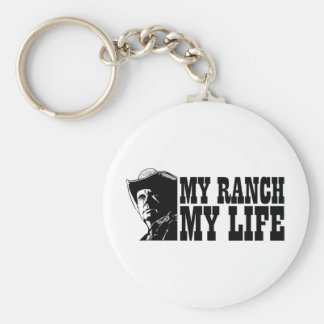 My ranch my life, gift for a farmer or rancher basic round button keychain