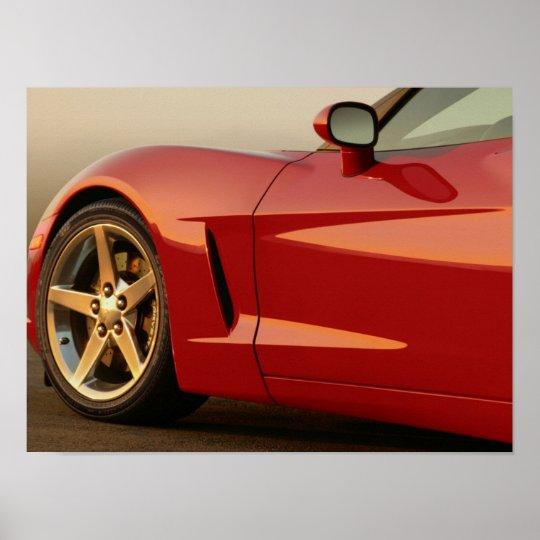 My Red Corvette Poster