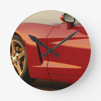 My Red Corvette Round Clock