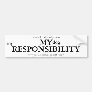 My Responsibility - White Bumper Sticker