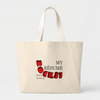 MY RESUME ROCKS LARGE TOTE BAG