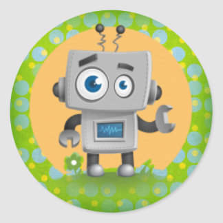 My Robot Sticker, Glossy Classic Round Sticker