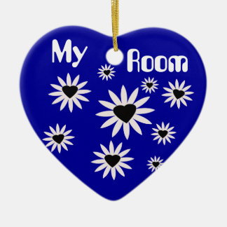 My Room, black & white flowers with hearts on blue Ceramic Ornament