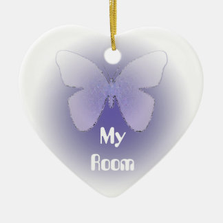 My Room, butterfly in purple on heart Ceramic Ornament