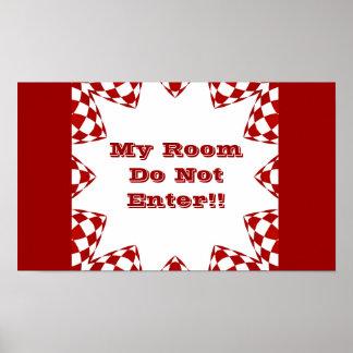 My room, do not enter, red & white checks poster