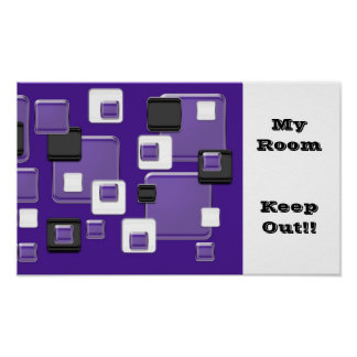 My room, keep out purple, black & white squares poster