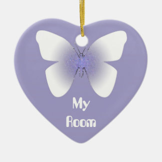 My Room, purple & white butterfly Ceramic Ornament