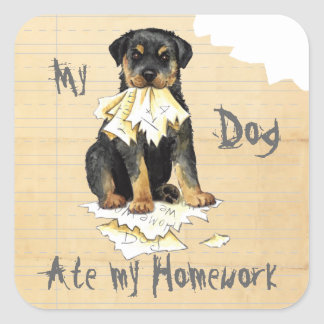 My Rottweiler Ate my Homework Square Sticker