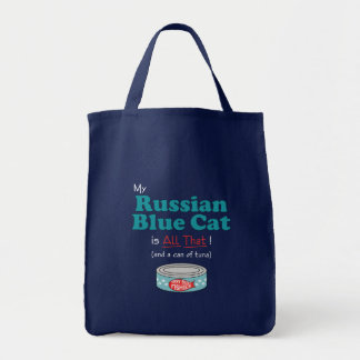 My Russian Blue Cat is All That! Funny Kitty Grocery Tote Bag