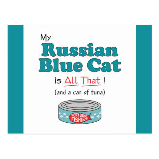 My Russian Blue Cat is All That! Funny Kitty Postcard