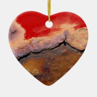 MY RUSTY BROKEN HEART           (porcelain art) Double-Sided Heart Ceramic Christmas Ornament