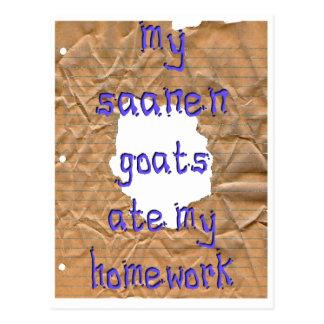 My Saanen Goats Ate My Homework Postcard