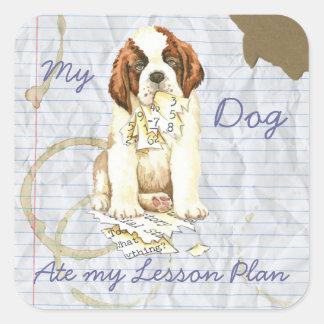 My Saint Bernard Ate My Lesson Plan Square Sticker