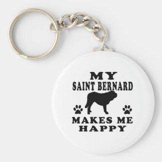 My Saint Bernard Makes Me Happy Keychains