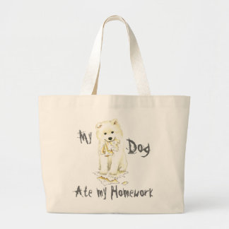 My Samoyed Ate My Homework Large Tote Bag