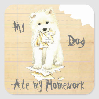 My Samoyed Ate my Homework Square Sticker