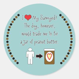 My Samoyed Loves Peanut Butter Classic Round Sticker