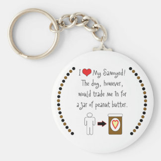My Samoyed Loves Peanut Butter Keychain