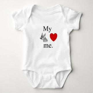 My Schnauzer loves me. Baby Bodysuit