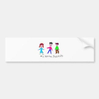 My School Friends - Child's Drawing Bumper Sticker