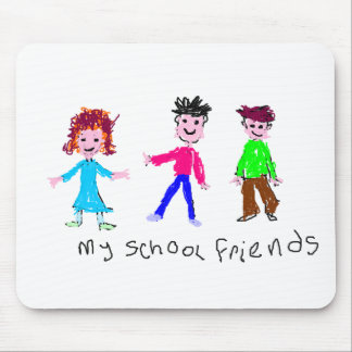 My School Friends - Child's Drawing Mouse Pad