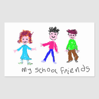 My School Friends - Child's Drawing Rectangular Sticker