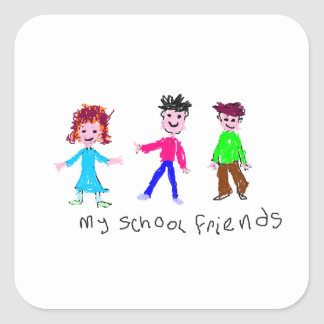 My School Friends - Child's Drawing Square Sticker
