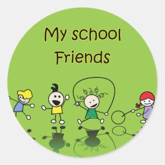 My School Friends Round Stickers