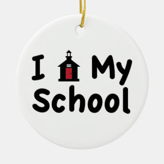 My School Round Ceramic Ornament
