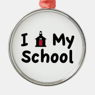 My School Silver-Colored Round Ornament