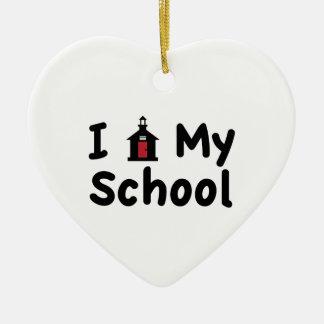 My School Ceramic Heart Ornament