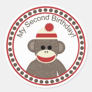 My Second Birthday Sock Monkey sticker