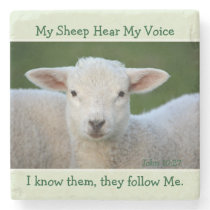 My Sheep Hear My Voice, Bible Verse John 10:27, Stone Coaster