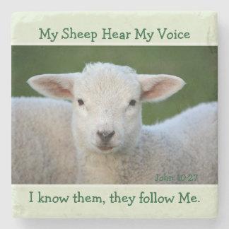 My Sheep Hear My Voice, Bible Verse John 10:27, Stone Coaster