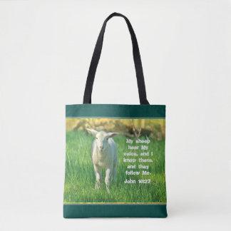 My Sheep Hear My Voice, Bible Verse John 10:27, Tote Bag