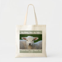 My Sheep Hear My Voice, Bible Verse John 10:27, Tote Bag