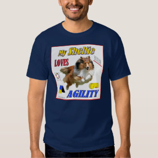My Sheltie Loves Agility design- Sable Tshirts