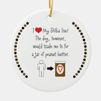 My Shiba Inu Loves Peanut Butter Ornament