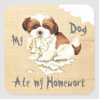 My Shih Tzu Ate my Homework Square Sticker